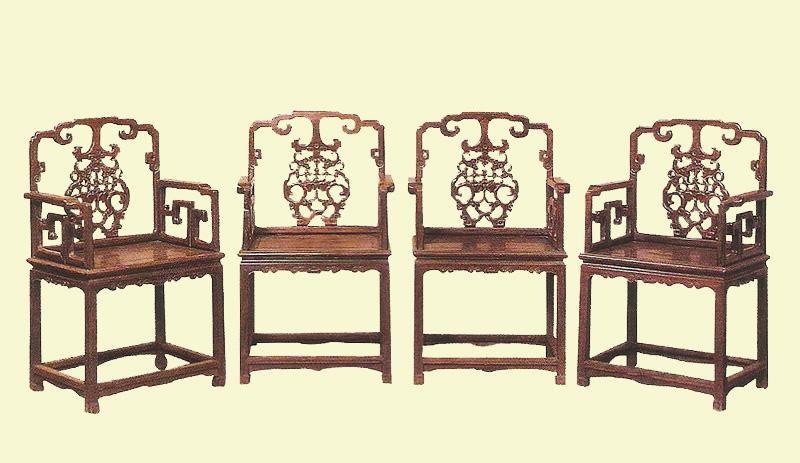 红木雕花椅四件(图)