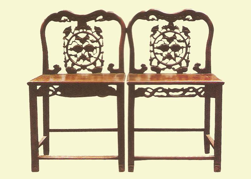 铁力木雕花椅一对(图)