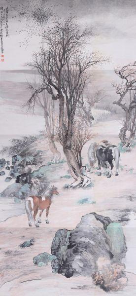 颜文梁的风景写意小品《夕阳泛舟图》