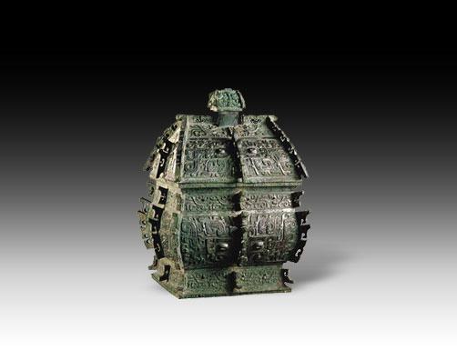 西周 兽面纹方彝 高32.6cm  青铜方彝,古代的盛酒器.彝,青...