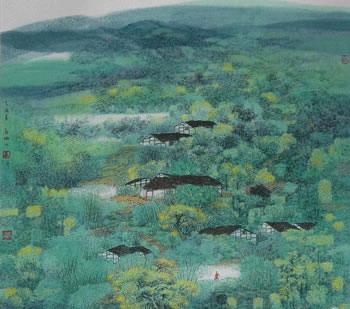 手绘水粉田园图片