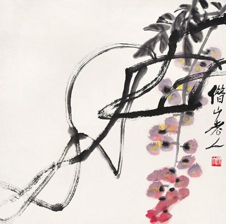 齐白石的紫藤画