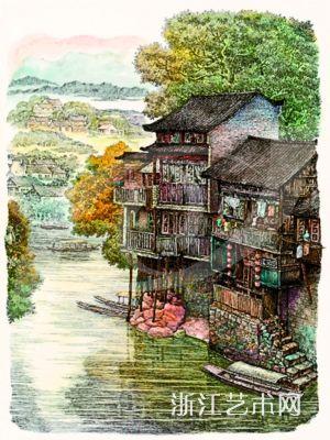 《沱江之春·湘西凤凰古城》作春季拍卖,为钢笔画作为一个独立