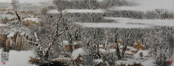 如果把绘画形象分为具象与抽象两类,他的画是侧重于具象的:如果把山水