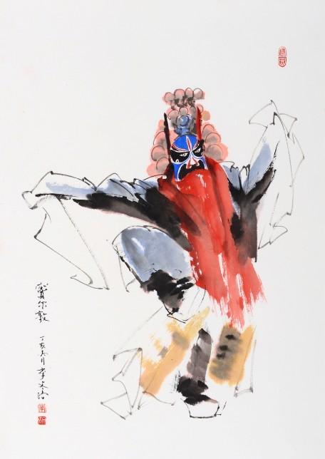水墨画京剧人物女头像